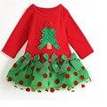 Новый 2016 Девочка Рождество Платье девушки Рождеством Летнее Платье Хлопка Малышей Dot Повседневная Туту Платье 25D