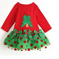 New 2016 Baby Girl Christmas Dress Girl's Merry Christmas Summer Dress Kids Cotton Dot Casual Tutu Dress 25D