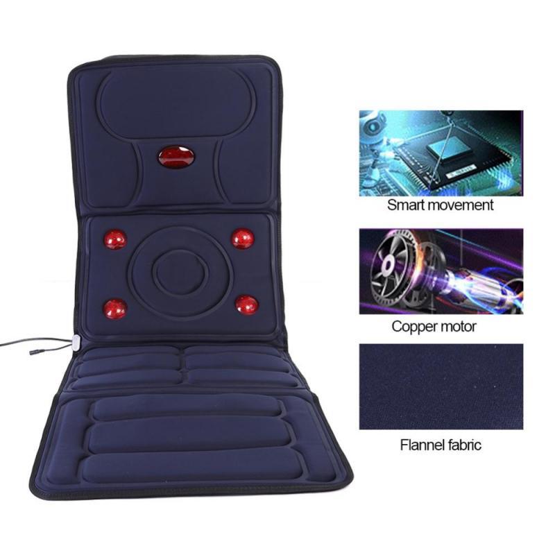 Microcomputer 9 Massage Head Heating Massage Mattress Vibration Mat Cushion Body Pain Relief Full Body Shiatsu