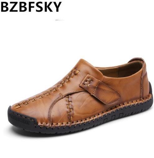 Qualité Hommes Sneakers Causalité Brown Véritable Respirant Bateau Brown Nouveau Bzbfsky Chaussures Haute Plat De Mocassin noir 2018 Sur light Glissement Cuir x4SI87wq