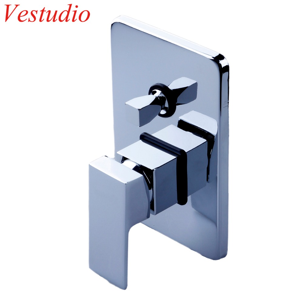Dual Square Chrome Plated Concealed Shower Mixer Valve Hot Cold Water In Wall Mounted Bath Faucet Control Bathroom Accessories china sanitary ware chrome wall mount thermostatic water tap water saver thermostatic shower faucet