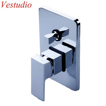 Dual Square Chrome Plated Concealed Shower Mixer Valve Hot Cold Water In Wall Mounted Bath Faucet Control Bathroom Accessories
