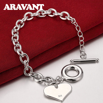 Women Bracelets 925 Silver Toggle Clasp Heart Bracelet For Women Fashion Silver 925 Jewelry silver charm bracelets 925 jewelry heart bracelets for women silver plated jewelry gifts