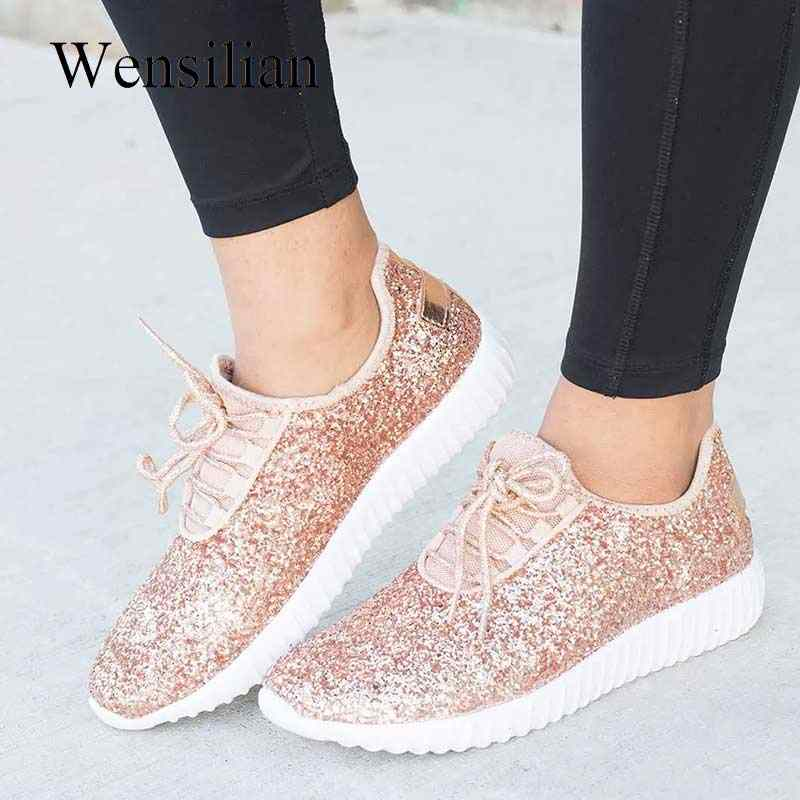 ecef7f39d1da Vulcanized Shoes Woman Sneakers Trainers Sequined Glitter White Sneakers  Sparkly Ladies Casual Shoes Bling Zapatillas Mujer