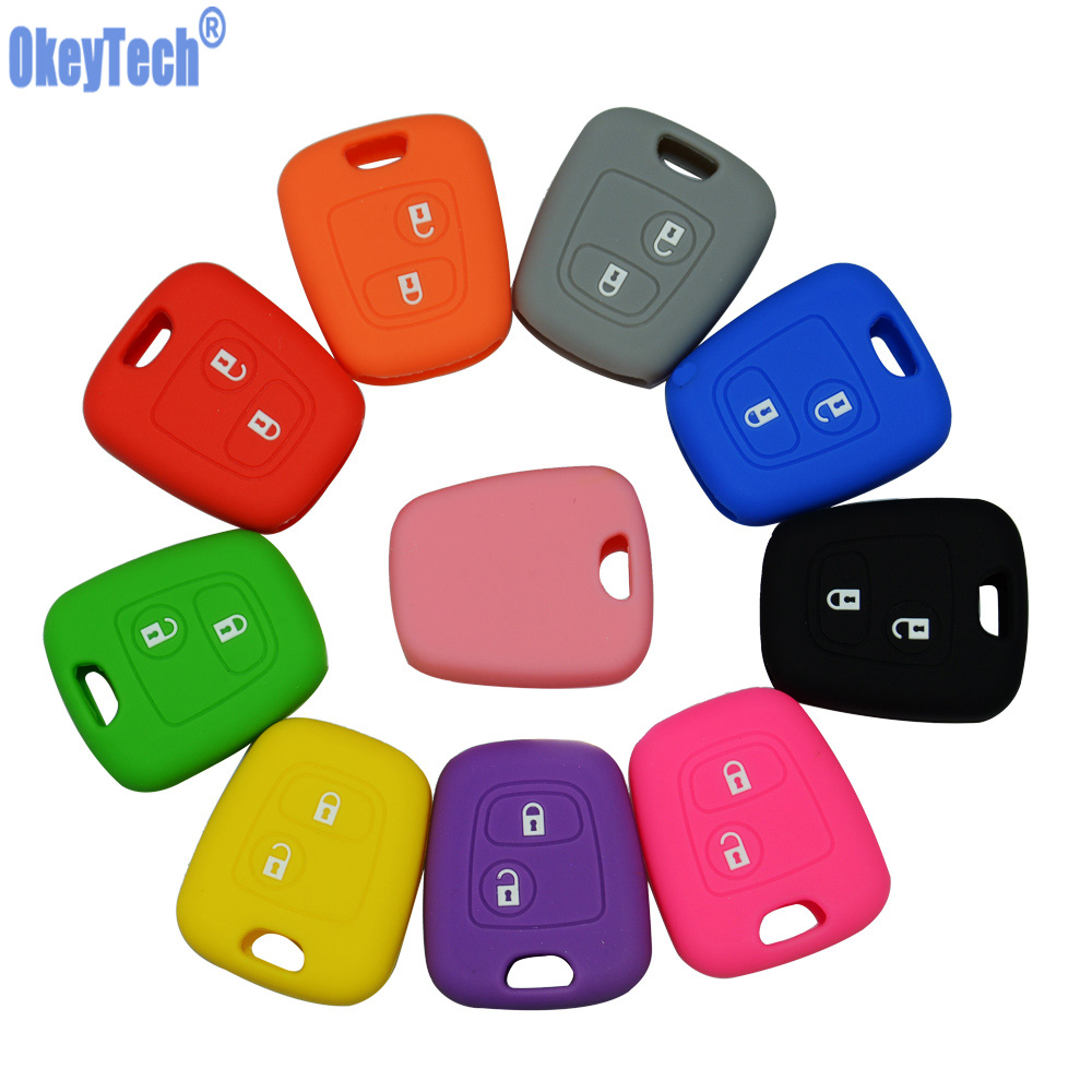 OkeyTech Silicone Car Key Cover Holder For Peugeot 206 307 207 408 For Citroen C2 C3 C4 Soft Rubber 2 Button Key Fob Case Shell(China)