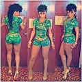 2016 Hot Sell Women's Fashion Sexy Bandage Jumpsuits Green Printed Sexy Bodycon Lady's Nightclub Sexy  Rompers