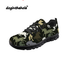 Doginthehole Horse Pattern Sneakers Women Walking Shoes Breathable Mesh Chaussure Female Outdoor Sports Athletic Footwear