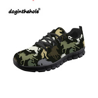 Doginthehole Horse Pattern Sneakers Women Walking Shoes Breathable Mesh Chaussure Female Outdoor Sports Shoes Athletic Footwear
