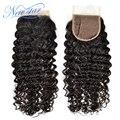 1 шт. new star свет лучшие качества перуанский девы волос бесплатный стиль отбеленные узлы глубокая волна локон 4*4 дюймов 120% плотность кружева закрытие