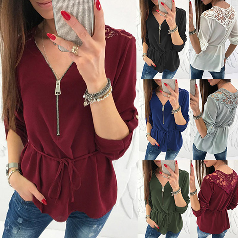 Women Autumn Chiffon Shirts V Neck Long Sleeves Zipper Pullover Slim Fit Tops FS99