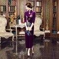 Shanghai Historia larga de terciopelo vestidos de noche bordado vestido púrpura qipaomodern cheongsam cheongsam vestido largo robe chinoise