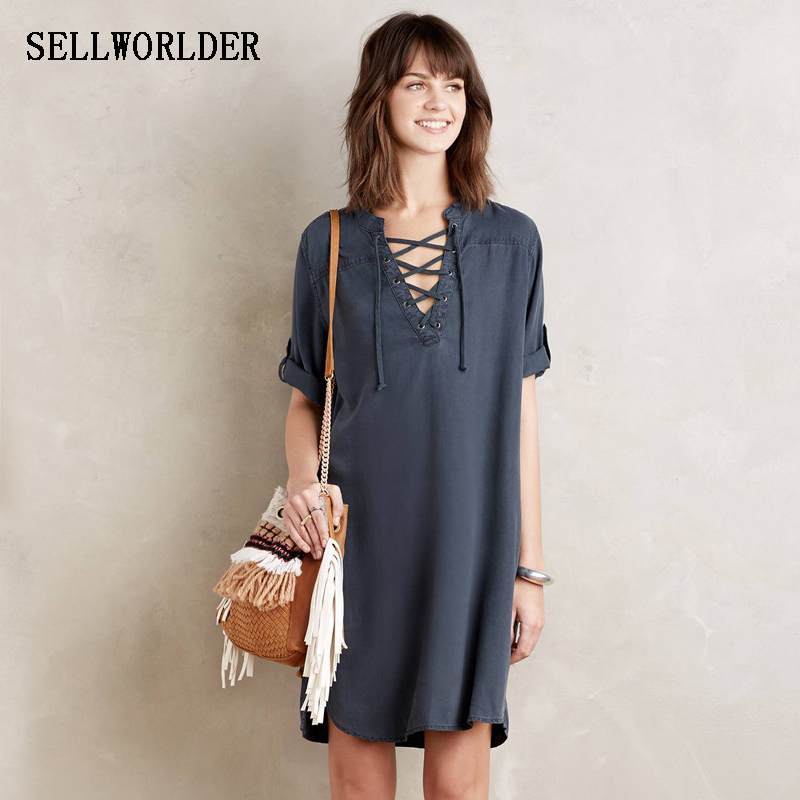 2017 SELLWORLDER farmer ruha Női lányok Vintage ceruza farmer farmer ruha nyári laza kényelmes stílusú ruházat