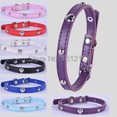 Personalized  Studded Pu Leather Dog Collar 7 Colors Small Pet Products For Dogs