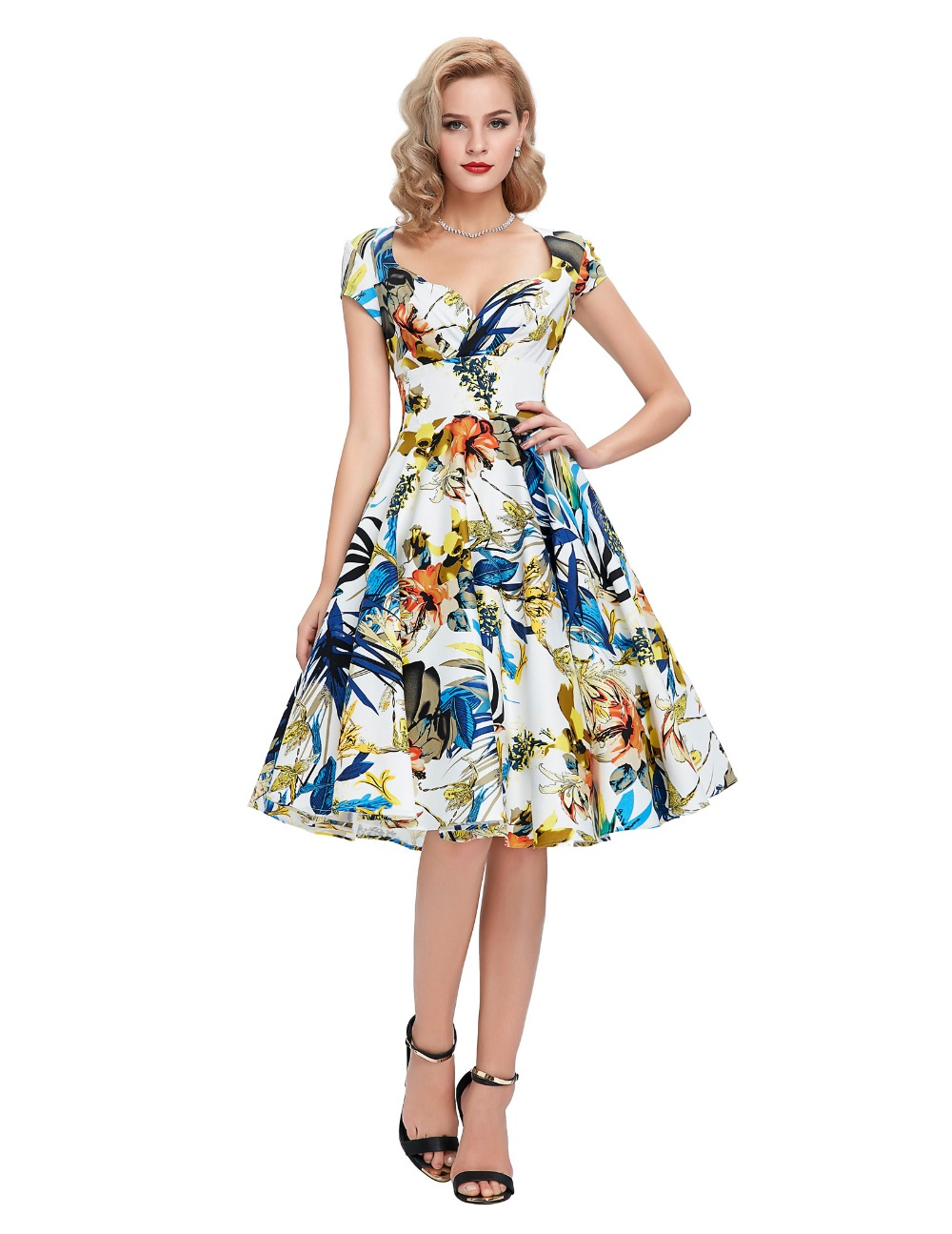 Assez Rockabilly Dress Casual Women Short Sleeve Cotton Vestidos Retro  IB18