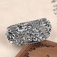 RADHORSE 925 серебряные браслеты для женщин ювелирные украшения ручной тайский серебряный розовый павлин Национальный стиль регулируемый