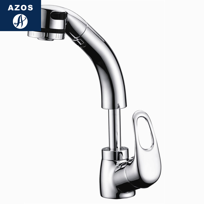 Azos Pull Out Faucet Rotatable Mixing Valve Brass Chrome
