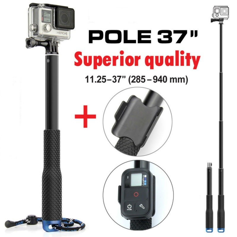 Gopro 37'' Extendable Handheld Pole Telescopic Selfie Monopod Stick + Wifi Remote Holder Clip for GoPro Hero 6 5 4 3+