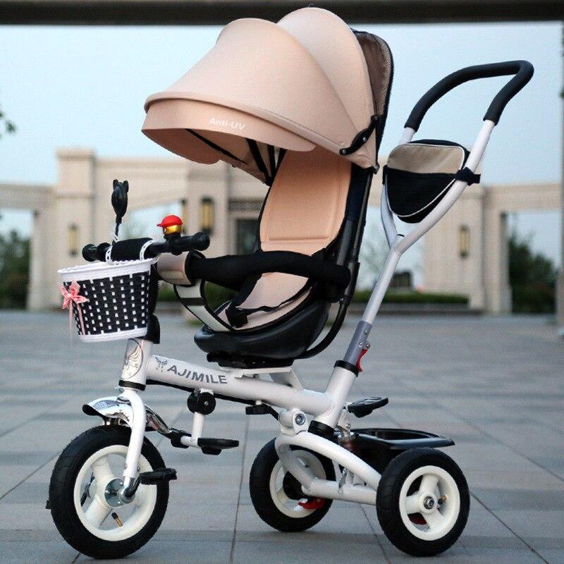 Enfants pliant chaise rotative Tricycle bébé vélo poussette Convertible bébé chariot trois roues Tricycle poussette vélo