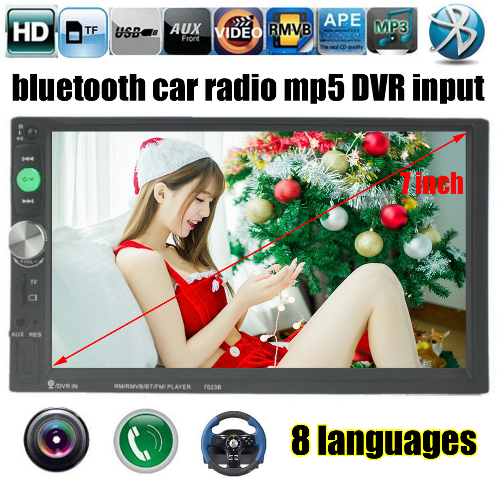 7 inch 2 Din HD Car Radio MP5 MP4 Player Bluetooth stereo support Rear View Camera touch screen FM USB TF AUX DVR input 2 din support rear camera car bluetooth gps 7 inch radio touch screen stereo mp4 mp5 player usb 8g map card selection