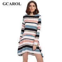 GCAROL 2017 Women New Arrival Colorful Striped Dress High Quality Ball Gown Elegant Dress Early Spring Summer Dress For Ladies