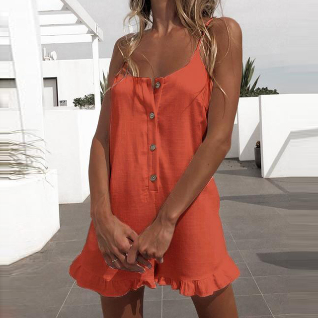 Short Rompers Jumpsuit Women Backless Spaghetti Strap Button