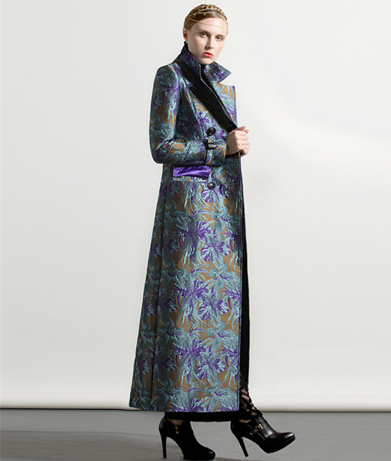 Plus Style Breasted Manteau Hiver xxxl Jacquard Musulman La Taille S Femmes Luxe Automne Trench Long De Outwear Double Floral T0AZwq