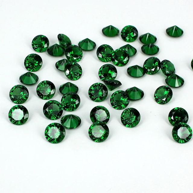 Emerald Color Cubic Zirconia Stones Beads Round Design Supplies For