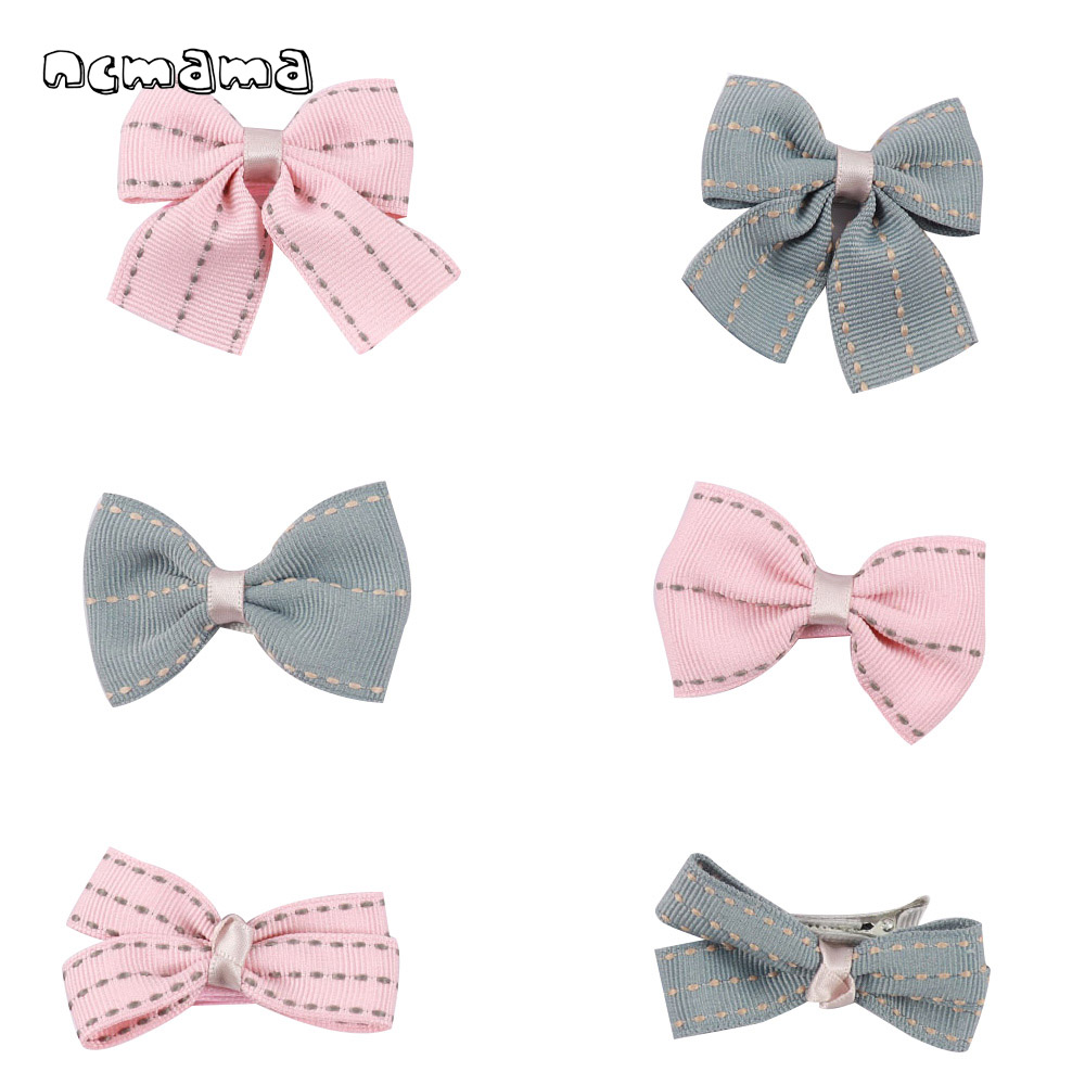 1 Set(6pcs) Girls' Minimalism Headwear Jeans Grosgrain Ribbon Hair Bow With Safety Clips Handmade Hairbows Kids Hair Accessories