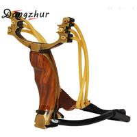 Professional Alloy Wooden Athletics Slingshot Adjustable Hunting Catapult Powerful Outdoor Slingshots With Metal Handle