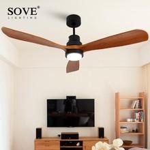 Sove деревянный Потолочные вентиляторы без света Спальня 220 В потолочный вентилятор дерево Потолочные вентиляторы с подсветкой Дистанционное управление ventilador де тето