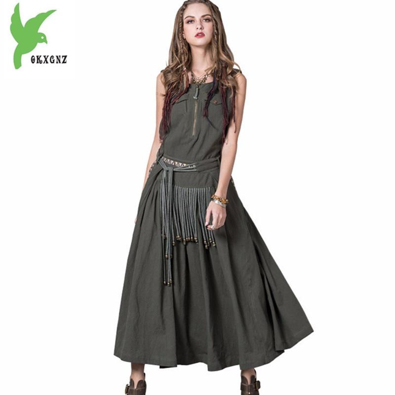 Boutique women summer dress Vintage embroidered strap dress tassel Cotton linen long dress female Large swing dress OKXGNZ 1791 long sleeve embroidered swing dress