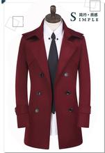 Spring and autumn plus size 9XL double breasted trench coats mens medium-long coat men's clothing teenage wine red outerwear