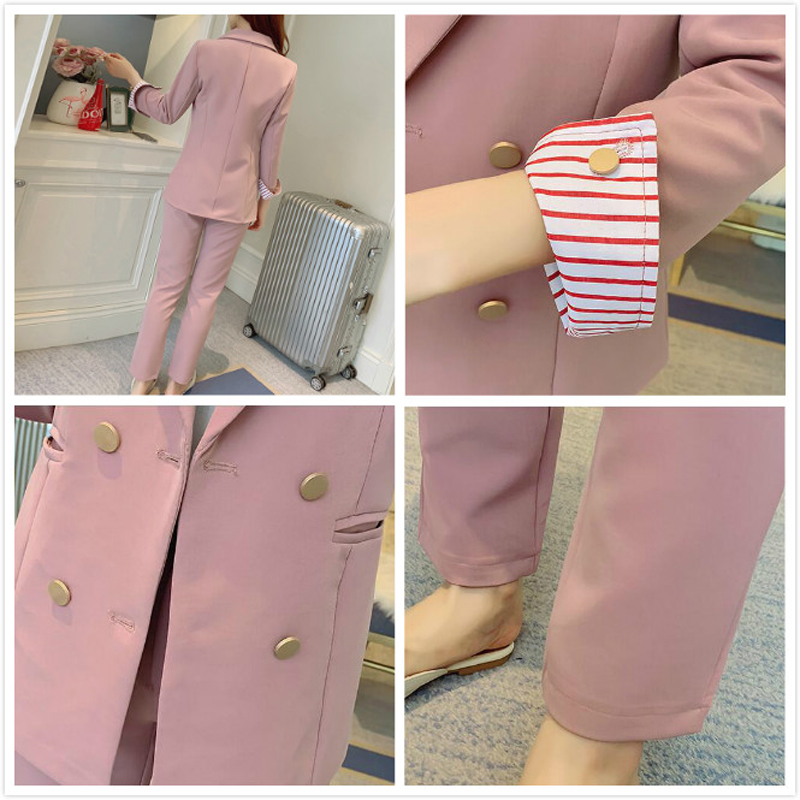 Spring Pink Women's Pant Suit Double Breasted Office Women's Blazers+ Pants Sets Striped Long Sleeve Trouser 2 Piece Set Women