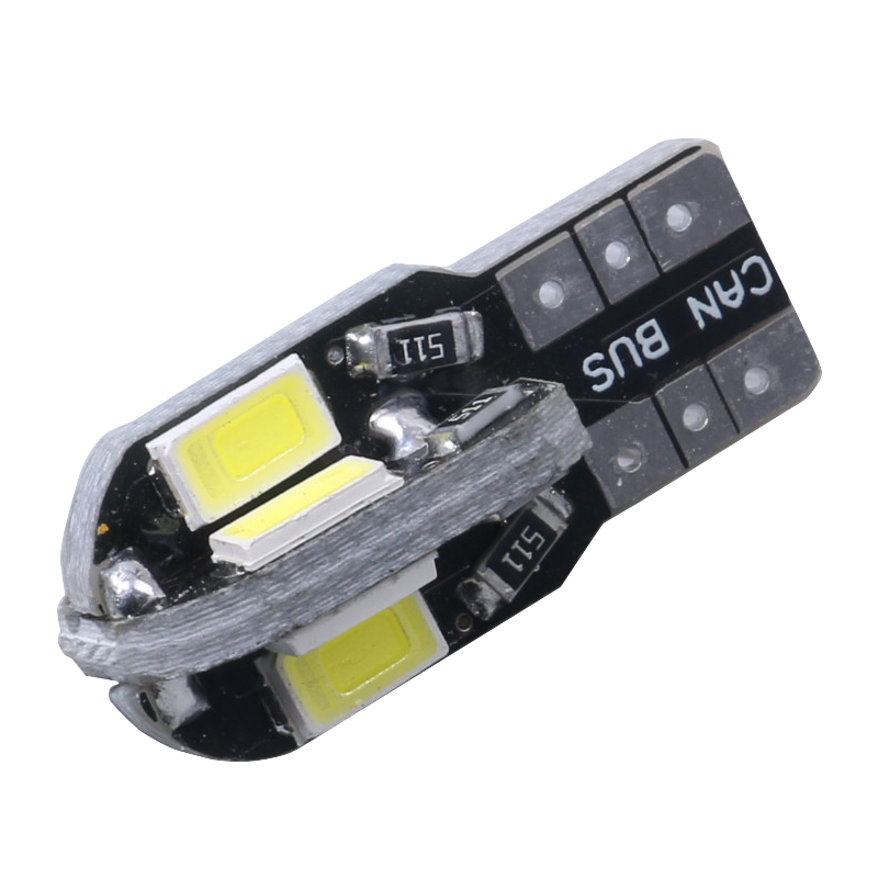 1pc T10 8SMD 5630 LED Car Light Canbus NO OBC ERROR Auto Wedge Lamp 2825 W5W 8 SMD 5630 Led Parking Bulb 12V white ice blue 10pcs led car interior bulb canbus error free t10 white 5730 8smd led 12v car side wedge light white lamp auto bulb car styling