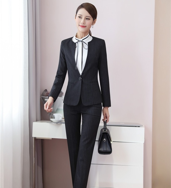 14eb83c5e9680a Dames Zwart Gestreepte Blazer Vrouwen Pakken Formele Office Suits  Werkkleding Uniform Stijlen Broek en Jas Set