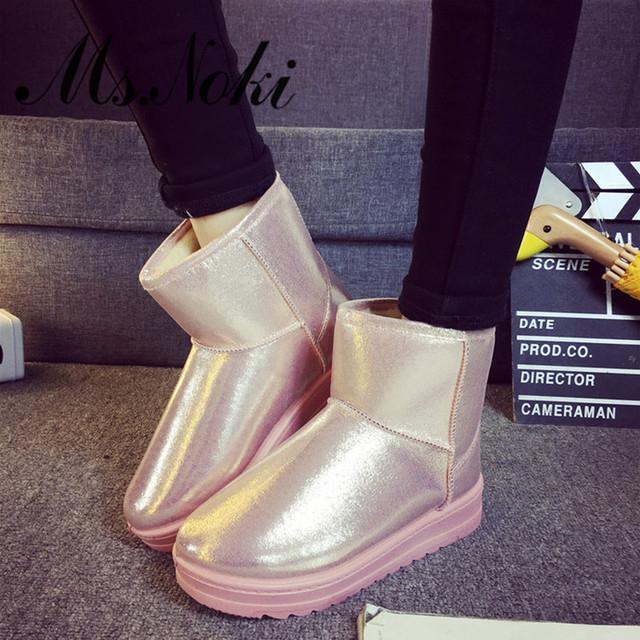 Inverno plataforma botas de neve mulheres à prova d' água quente botas de pelúcia tornozelo calcanhar plano de couro pu meninas algodão sapatas da escola