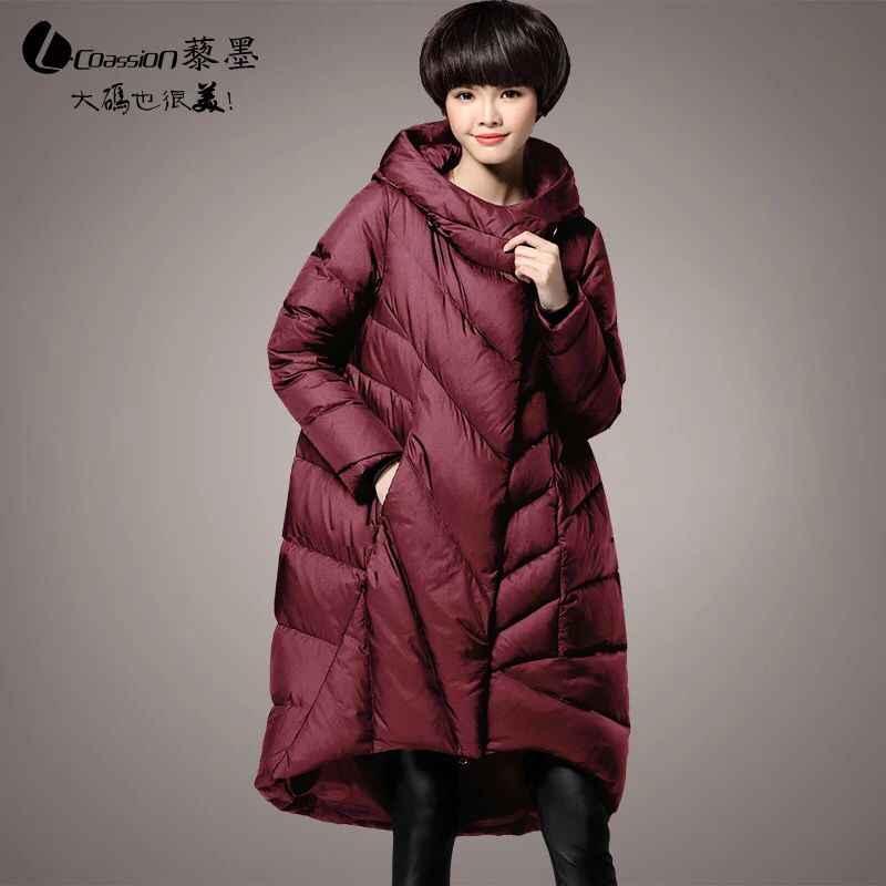 Новинка, большие размеры M ~ 5XL, женские парки, длинные толстые куртки на утином пуху, с капюшоном, 2018, зимняя Свободная Женская верхняя одежда, пальто высокого качества