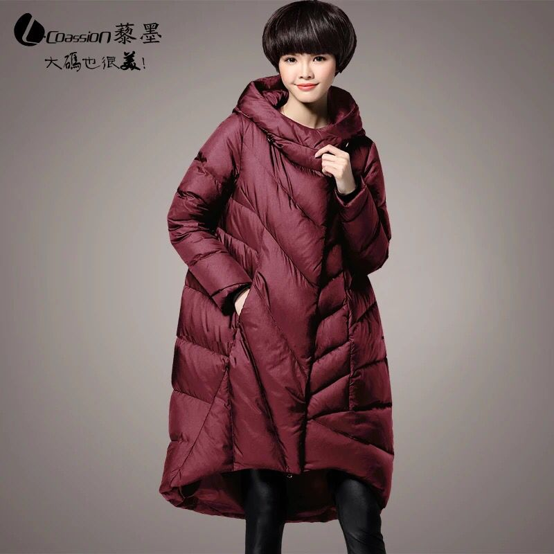 New Plus Size M~5XL Women's Parkas Long Duck   Down   Thick Jackets Hooded 2018 Winter Loose Feminine Outerwear   Coats   High Quality