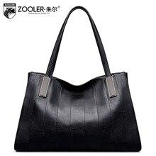 ZOOLER Black Genuine Leather Top Handle Handbag Leisure Simple Large Capacity Tote Bag Ladies Fashion Sac A Main Femme De Marque