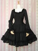 Customized 2018 Autumn Winter Black Long Sleeve Cotton Gothic Jsk Lolita Dress Costumes For Women
