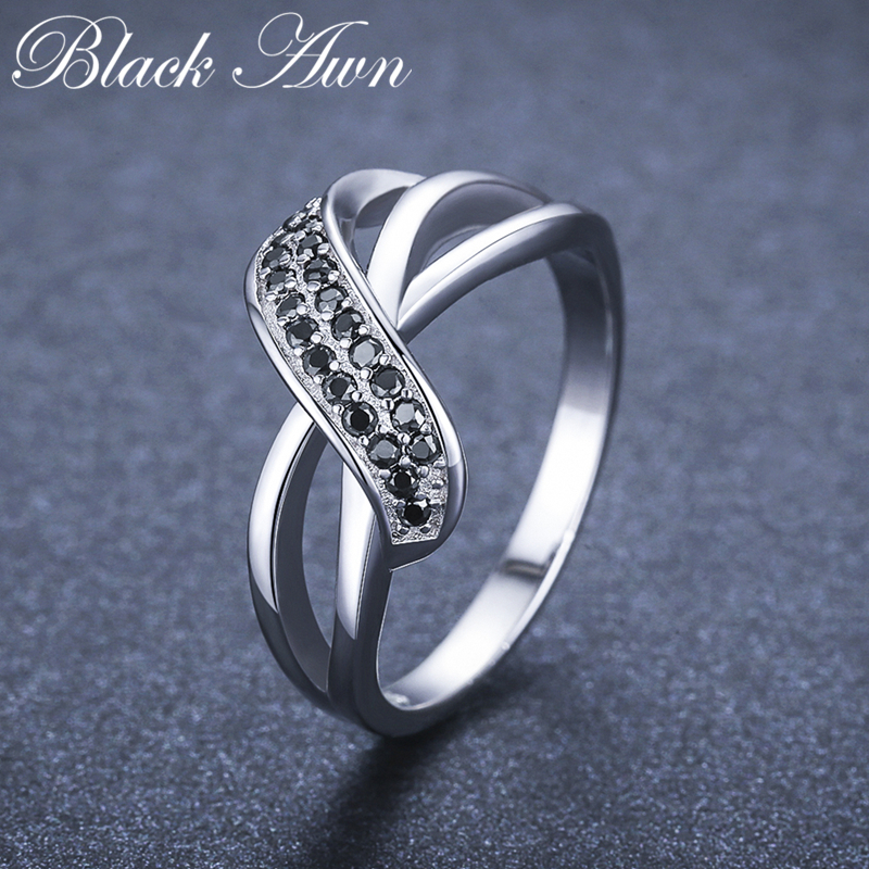 Classic 2.9g 925 Sterling Silver Fine Jewelry Engagement Black Spinel Engagement  Ring For Women GG036