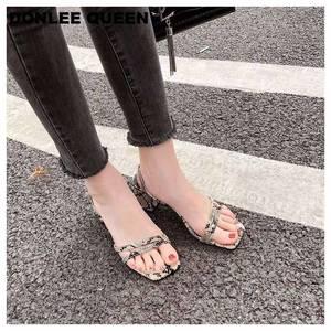 Image 3 - Donlee sandálias de rainha, envoltório para mulheres, salto médio, pele de cobra, chinelos vestido sapato