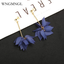 WNGMNGL 2018 Bohemian Femmes Drop Earrings Charm Korean flower petals leaves long Dangles earrings For women fashion jewelry
