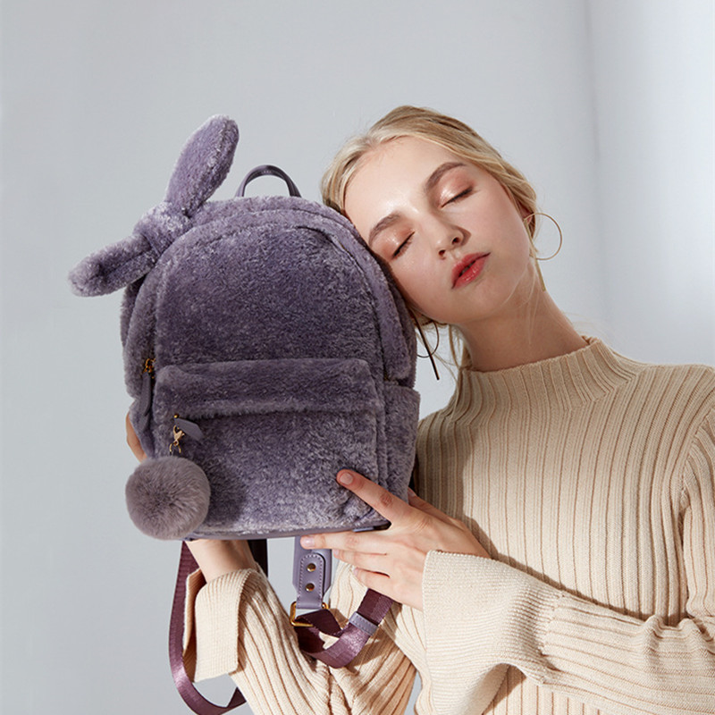 2018 Sheep's Wool Backpacks Fashion Girls Women Pink Lovely Plush Bow Hair Ball Rucksack Canvas Bags Casual Travel Shoulder Bag цена и фото