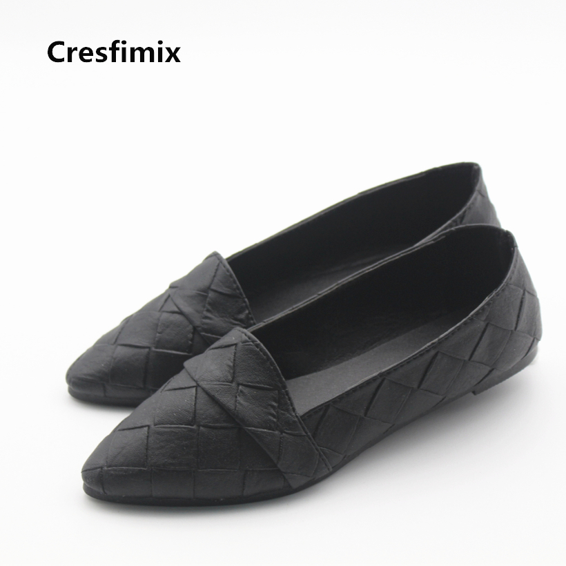 Cresfimix sapatos femininos women cute black spring & summer slip on flat shoes lady casual soft pu leather comfortable shoes cresfimix women cute spring