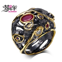 DreamCarnival 1989 Dome Shape Finger Ring For Women Anniversary Party Vintage Black Gold Color Red Purple