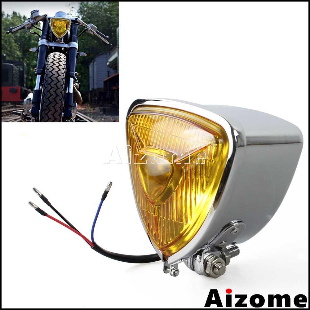 Chrome w//Gold Head Light Headlight Lamp for Harley Chopper Cruiser Bobber Custom