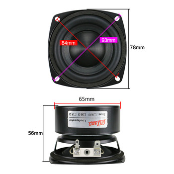 GHXAMP 3 inch Woofer Subwoofer Speaker 4ohm 25W Hifi Square Bass Speaker Black Alumina Ceramic Cap Rubber Edge 2pcs 6