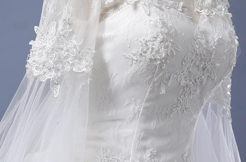 BANVASAC Real Photos Illusion Lace Appliques 2018 Ball Gown Wedding Dresses Long Sleeve Embroidery Plus Size Bridal Gowns in Wedding Dresses from Weddings Events