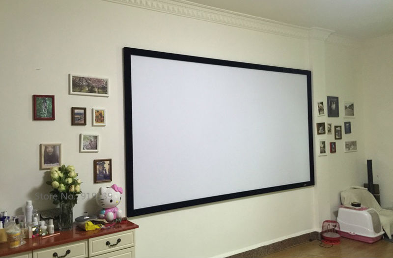 16:9 Cinema Black Velvet Curved Fixed Frame Projector Screen 80 Inch ...